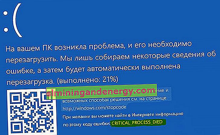 Помилка BSOD Critical Process Died в Windows 10